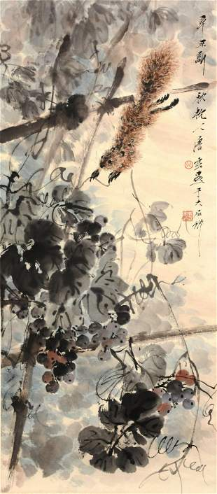 A Chinese Squirrels Painting Paper Scroll, Tang Yun