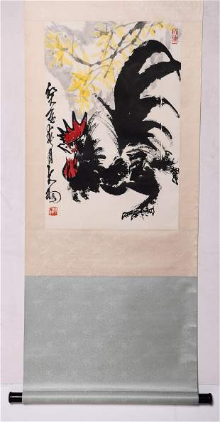 A Chinese Rooster Painting Paper Scroll, Chen Dayu Mark