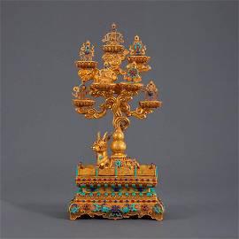An Inlaid Gold Eight Emblems Ornament