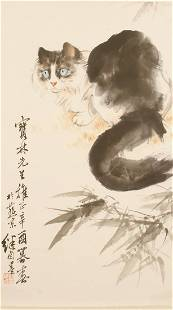 CHINESE CAT PAINTING SCROLL INK AND COLOR ON PAPER