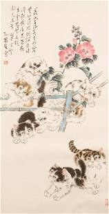 CHINESE SCROLLS CAT PAINTING MOUNTED INK AND COLOR