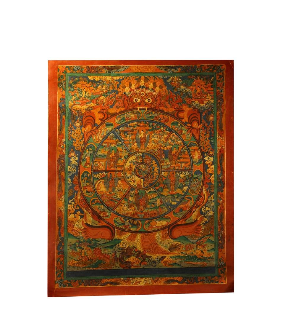 A beautifully painted Thangka