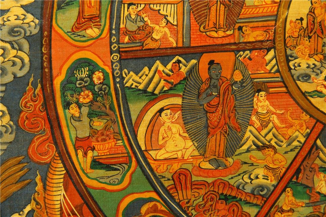 A beautifully painted Thangka - 5