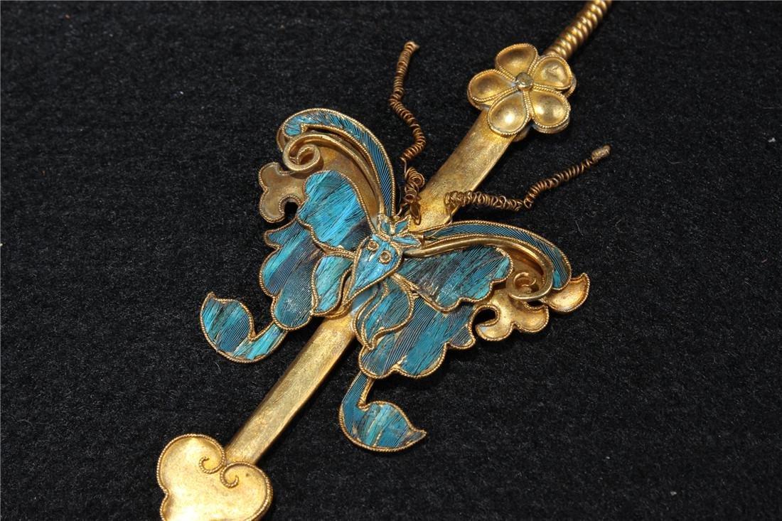 Clear silver gilt ten Kingfisher hairpins - 10