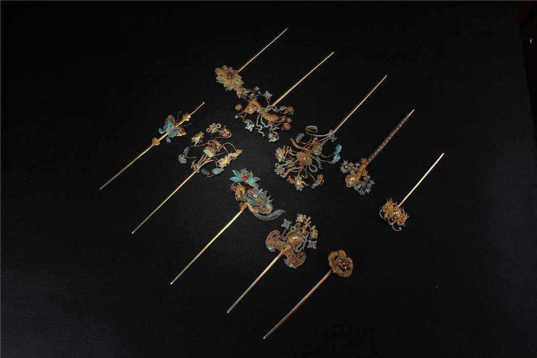Clear silver gilt ten Kingfisher hairpins