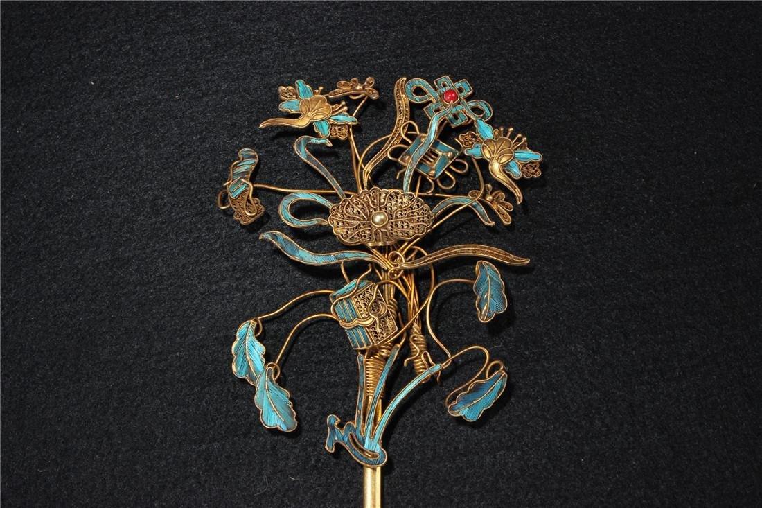 Clear silver gilt ten Kingfisher hairpins - 2
