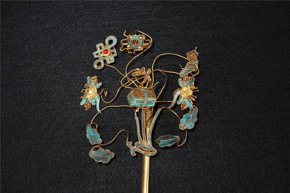 Clear silver gilt ten Kingfisher hairpins - 3
