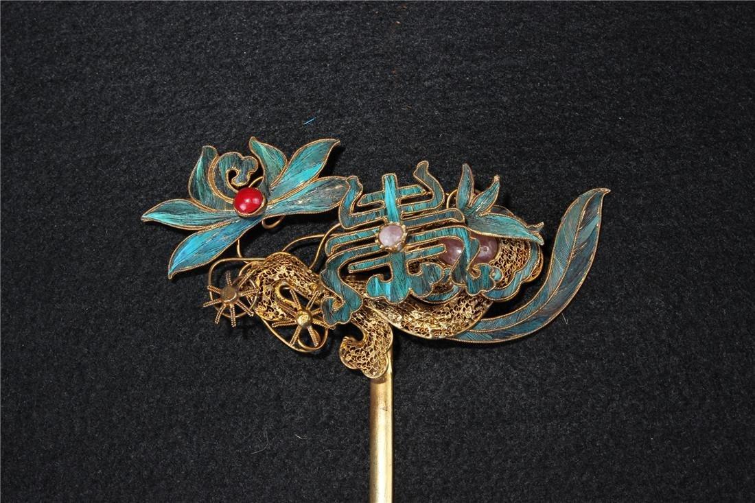 Clear silver gilt ten Kingfisher hairpins - 4