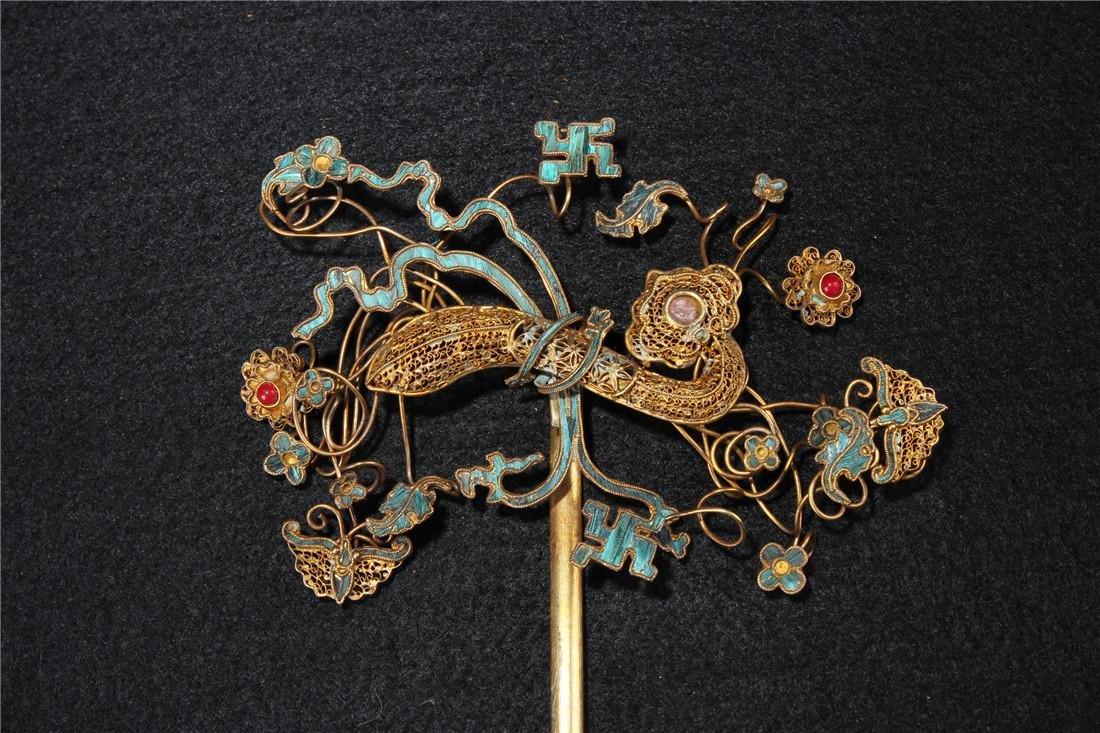Clear silver gilt ten Kingfisher hairpins - 5