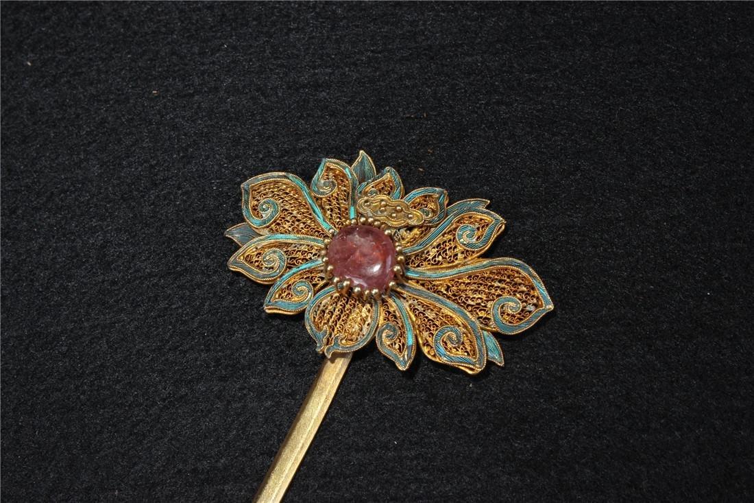 Clear silver gilt ten Kingfisher hairpins - 8