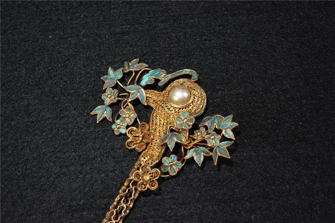 Clear silver gilt ten Kingfisher hairpins - 9