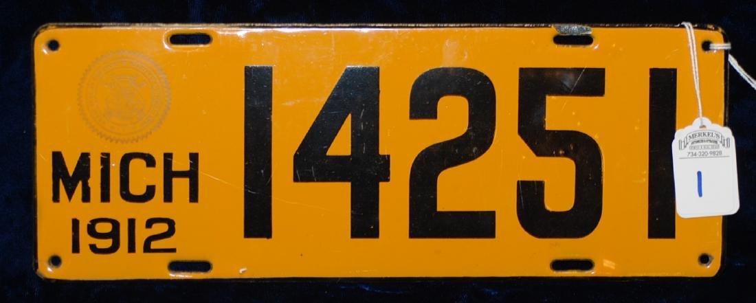 1912 Michigan License Plate #14251