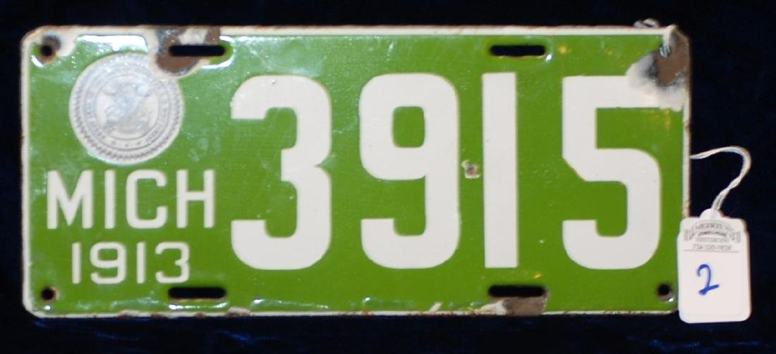 1913 Michigan License Plate #3915