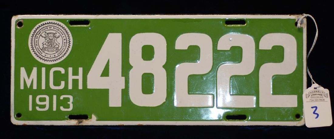 1913 Michigan License Plate #48222
