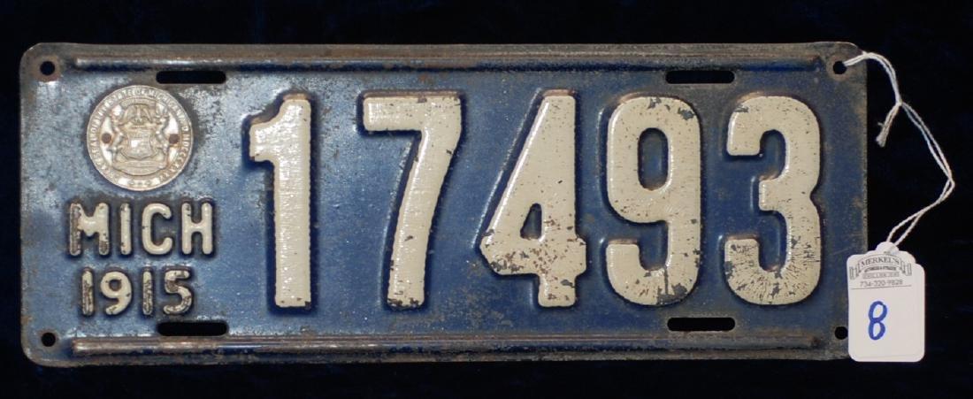 1915 Michigan License Plate #17493