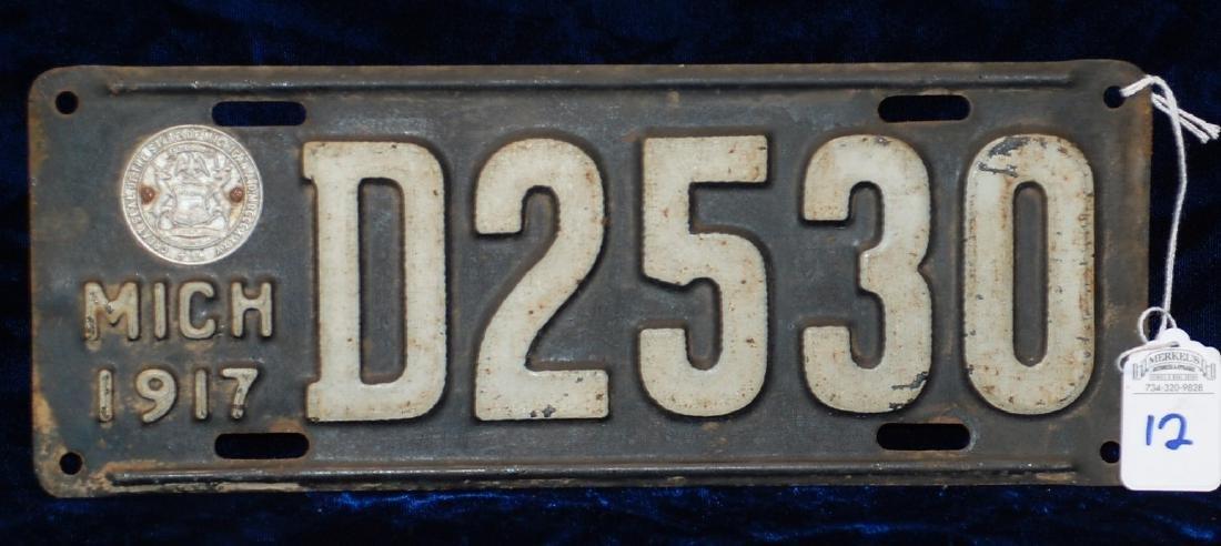 1917 Michigan License Plate #D2530