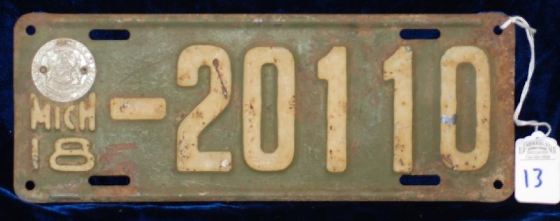 1918 Michigan License Plate #20110