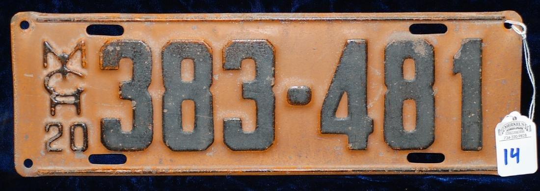 1920 Michigan License Plate #383-481