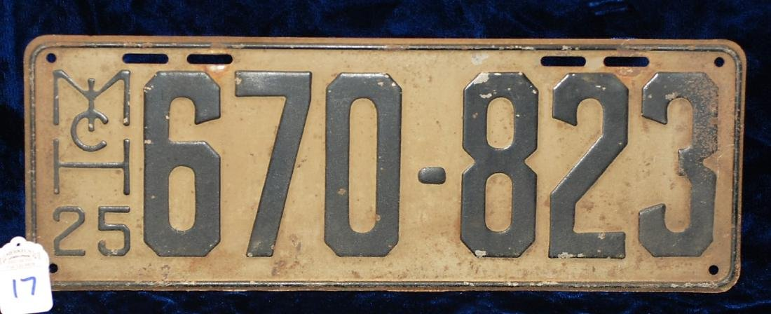 1925 Michigan License Plate #670-823