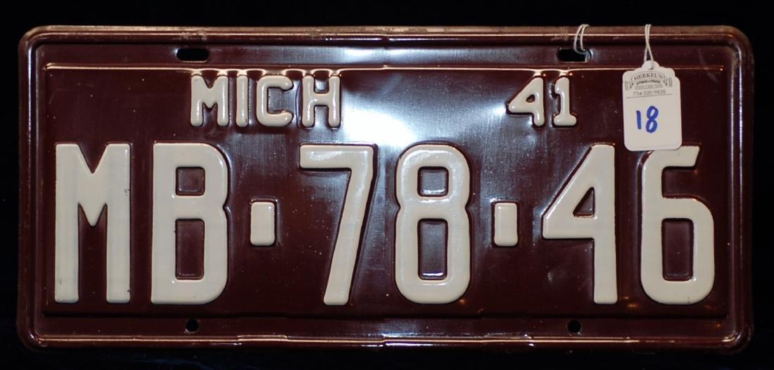 1941 Michigan License Plate #MB-78-46