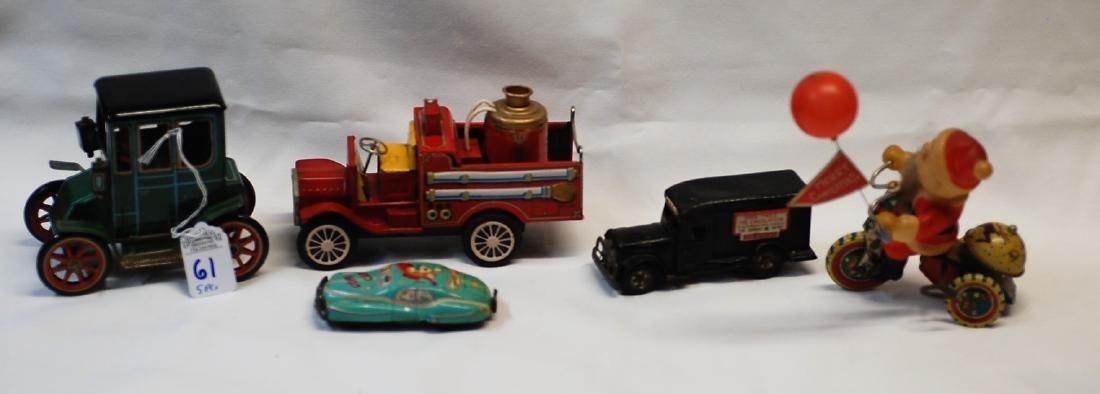 Lot of 5 Tin Litho Toy Cars/Trucks: Fire/Delivery/Comic