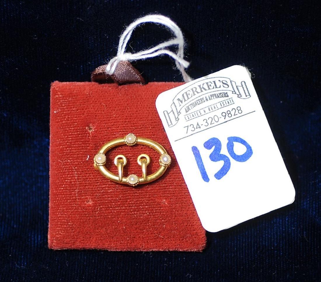 Vintage 14K Gold Sead Pearl Pin