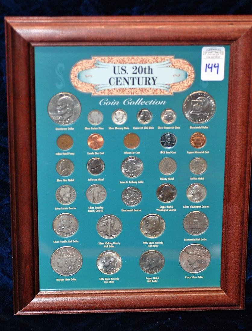 Framed US 20th Century Coin Collection