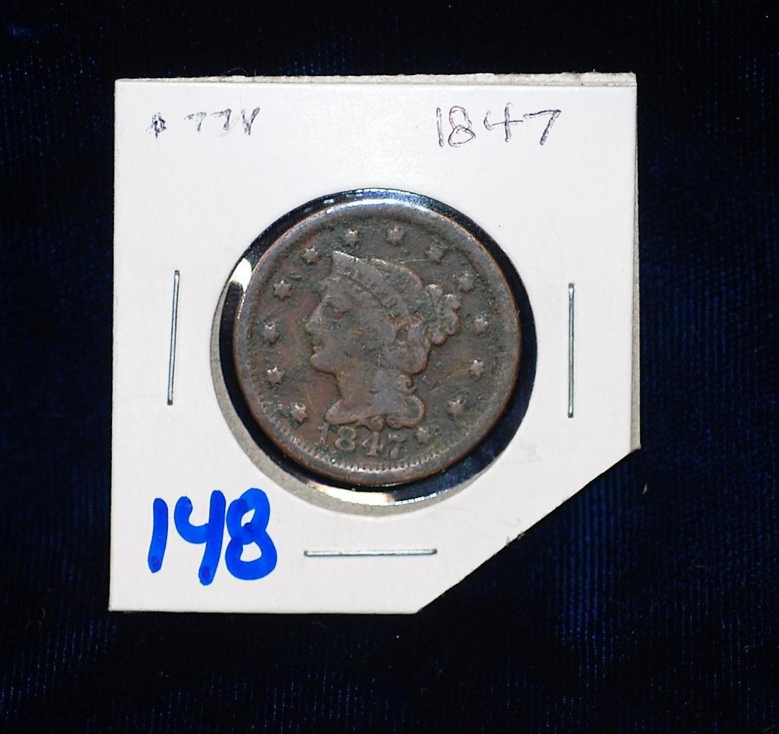 1847 US Braided Hair Large Cent
