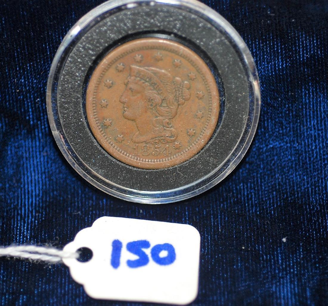 1854 US Large Braided Hair Cent