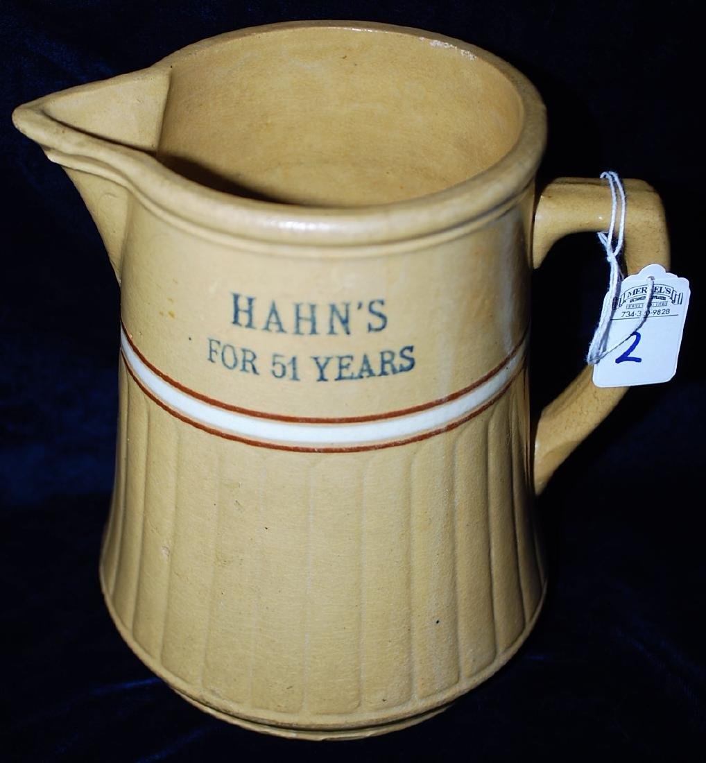"""Red Wing Saffron Ware Pitcher """"Hahns For 51 Years"""""""
