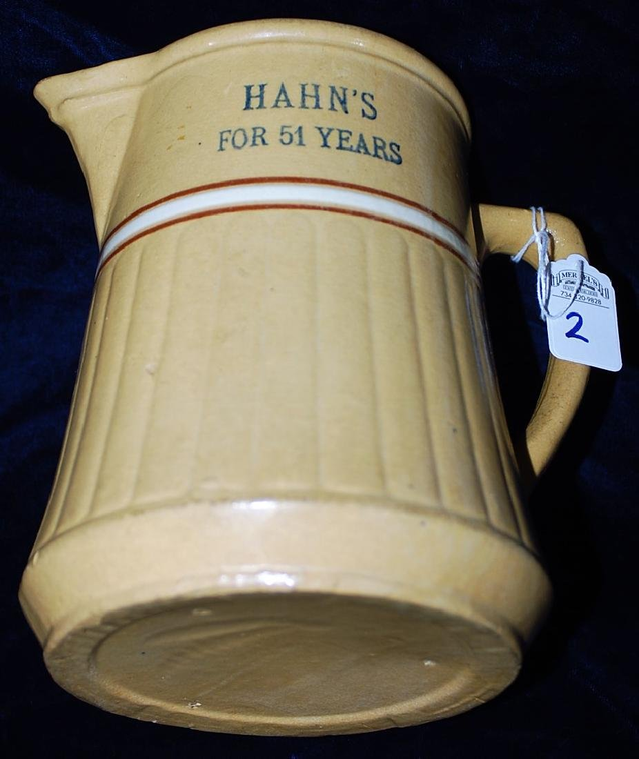 """Red Wing Saffron Ware Pitcher """"Hahns For 51 Years"""" - 2"""