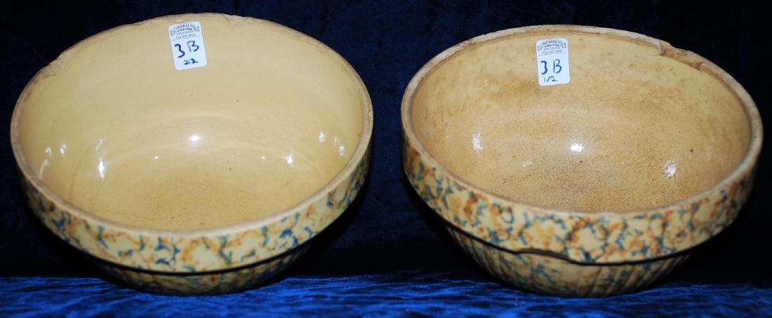 Red Wing Saffron Ware Two Color Sponged Bowls Lot of 2