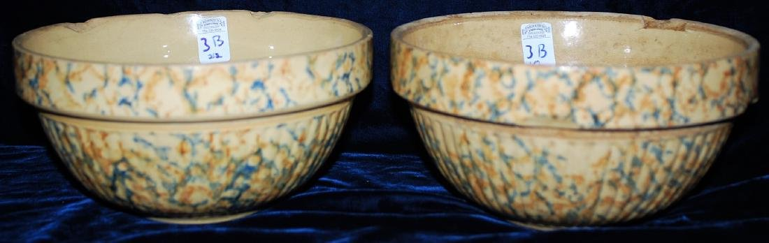 Red Wing Saffron Ware Two Color Sponged Bowls Lot of 2 - 2
