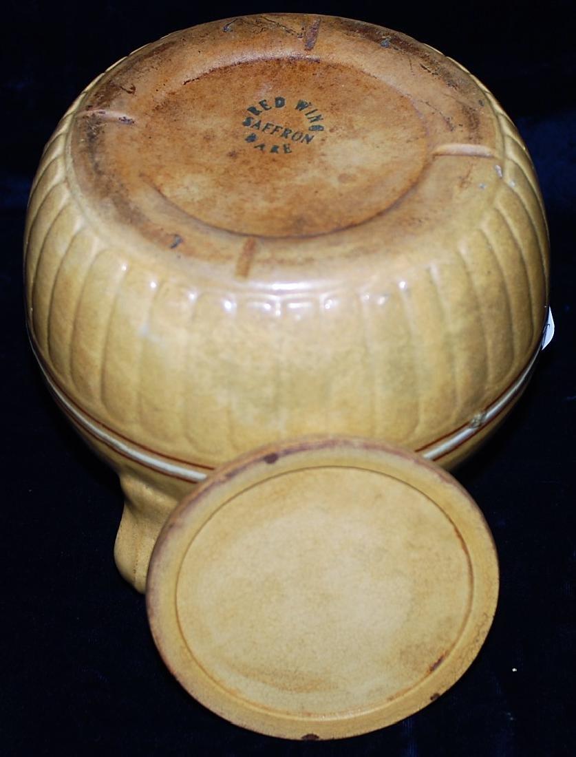 Red Wing Saffron Ware Bean Pot w/ lid - 3