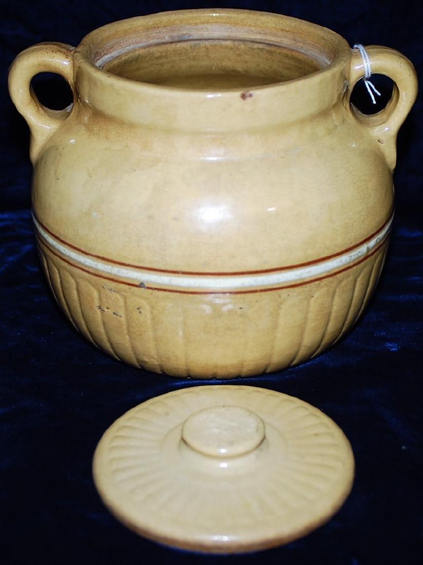 Red Wing Saffron Ware Bean Pot w/ lid - 4