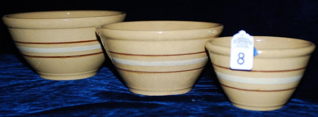 Red Wing Saffron Ware Lot of 3 Nested Mixing Bowls - 2