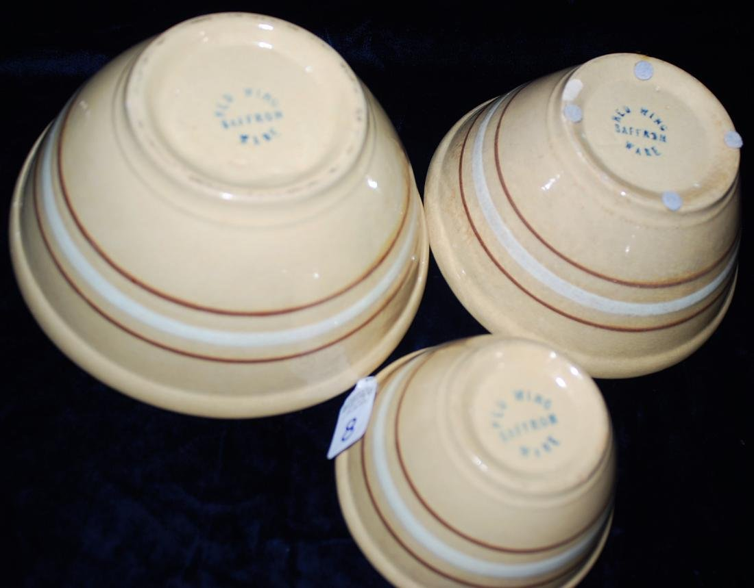 Red Wing Saffron Ware Lot of 3 Nested Mixing Bowls - 4