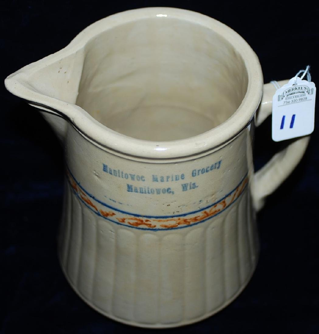 Red Wing Advertising Pitcher Manitowoc Marine Grocery - 2