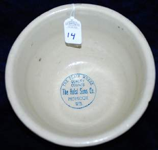 Red Wing Bowl Holst Sons Co Mishicot Wis Sponged Ring