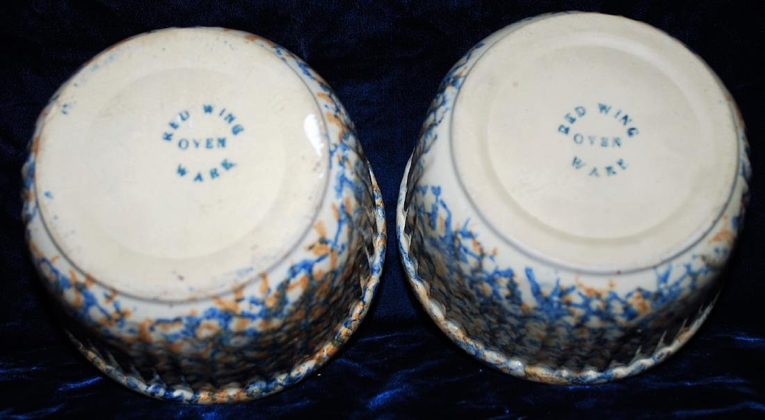 Red Wing Bowls Lot of 2. Two Color Sponged Ribbed. - 3
