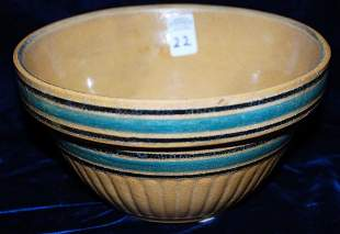 Yellow Ware Panel Bowl w/ Teal & Black bands