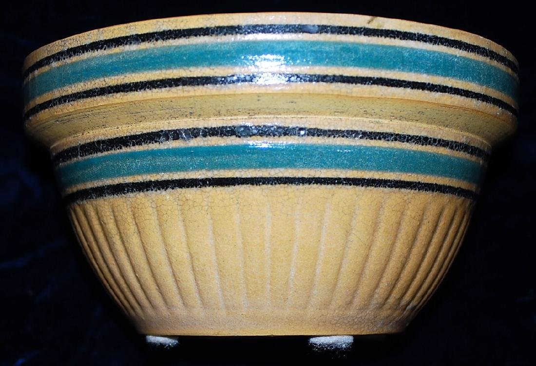 Yellow Ware Panel Bowl w/ Teal & Black bands - 2