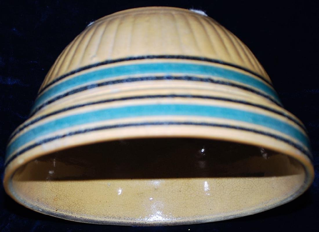 Yellow Ware Panel Bowl w/ Teal & Black bands - 4