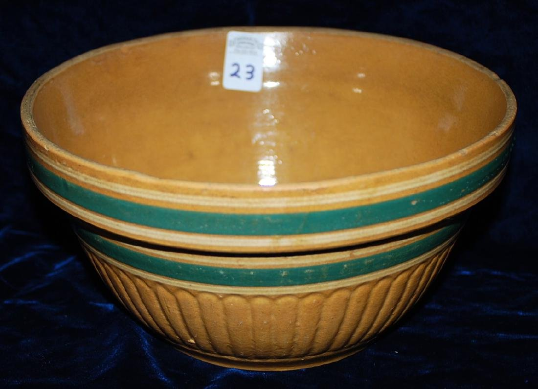 Yellow Ware Panel Bowl w/ Teal Green bands