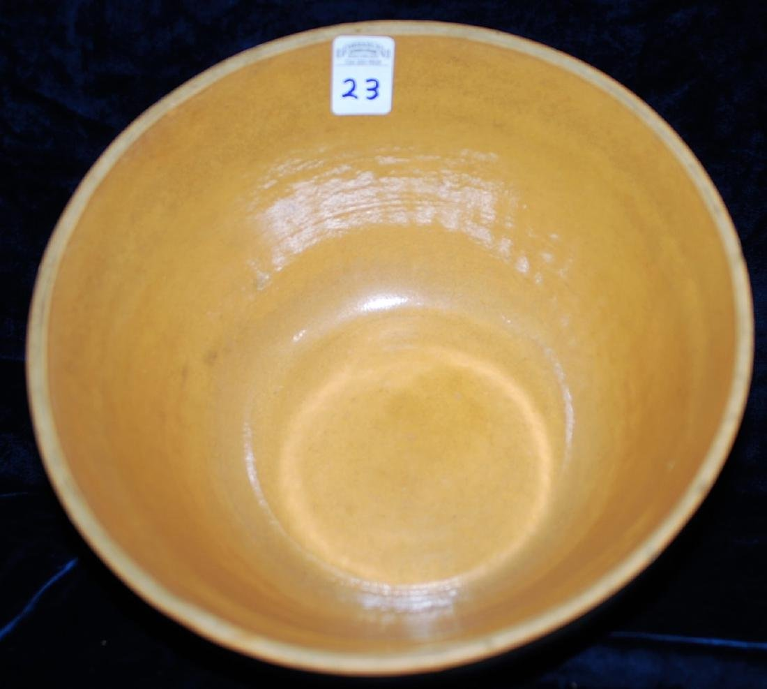 Yellow Ware Panel Bowl w/ Teal Green bands - 4