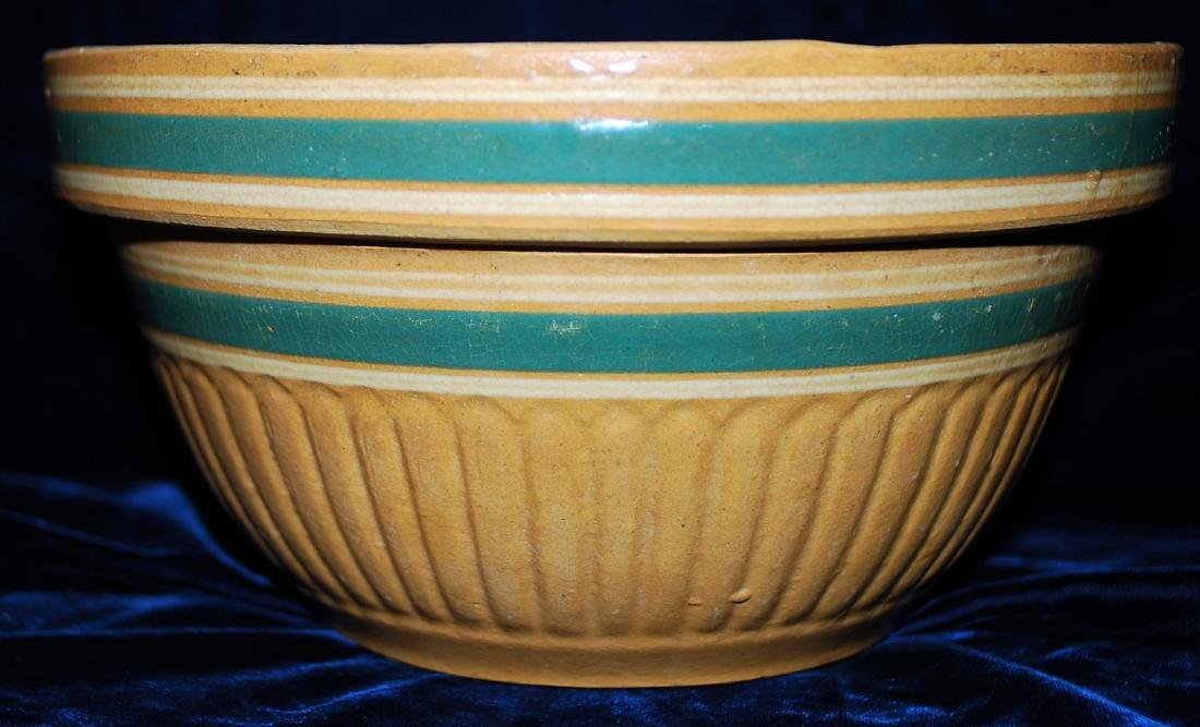 Yellow Ware Panel Bowl w/ Teal Green bands - 6