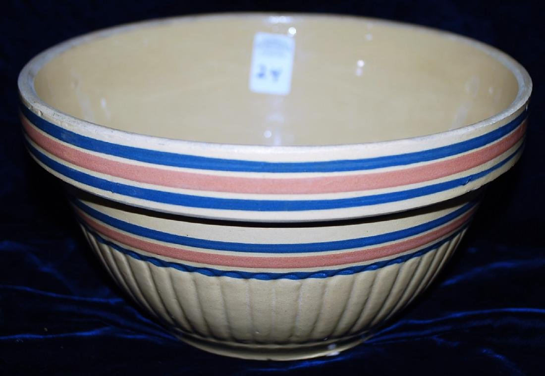 Yellow Ware Panel Bowl w/ Blue & Pink Bands