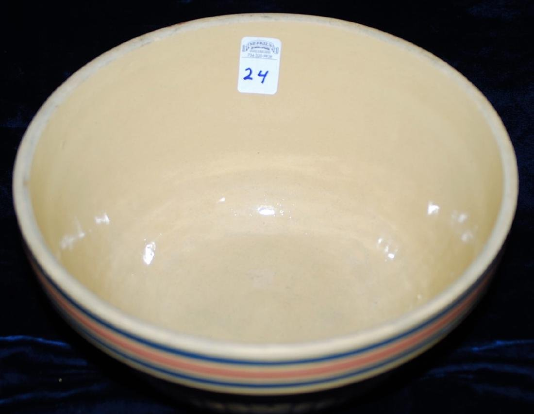 Yellow Ware Panel Bowl w/ Blue & Pink Bands - 2