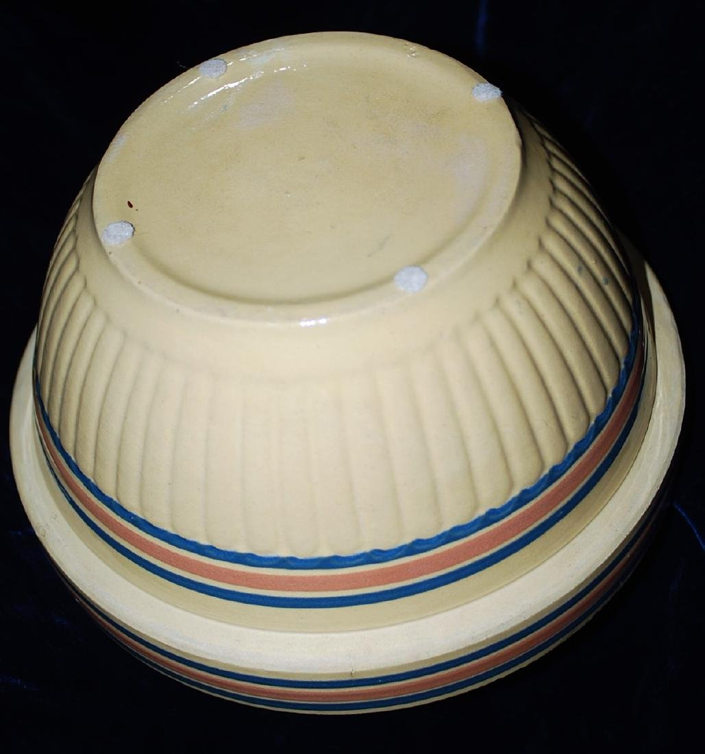 Yellow Ware Panel Bowl w/ Blue & Pink Bands - 4
