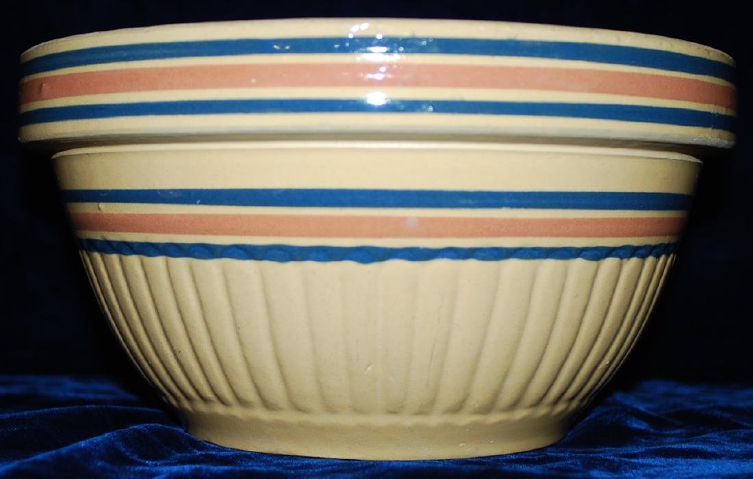 Yellow Ware Panel Bowl w/ Blue & Pink Bands - 5